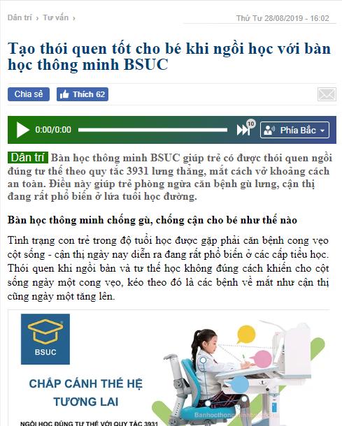Báo dantri.vn nói về bàn học thông minh Bsuc