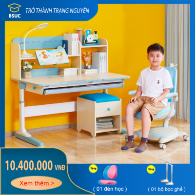 Bộ bàn ghế thông minh chống gù vân gỗ cực đẹp cho bé DKZ-120 và ghế DRY-815
